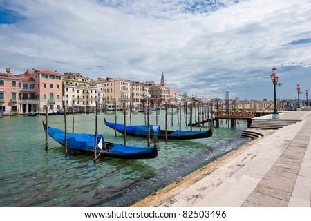 Gondolas at Grand Canal, Venice, Italy - stock photo