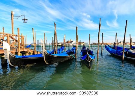 Gondolas at the Piazza San Marco, Venice, Italy - stock photo