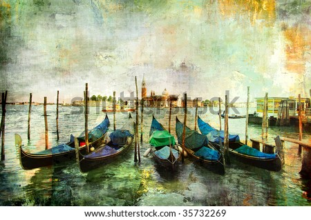 gondolas - beautiful Venetian pictures - oil painting style - stock photo