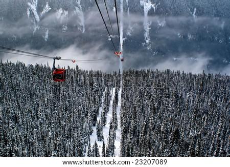 Gondolas in the Canadian Rockies - stock photo
