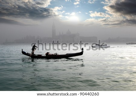 Gondolas in the morning, Venice, Italy - stock photo