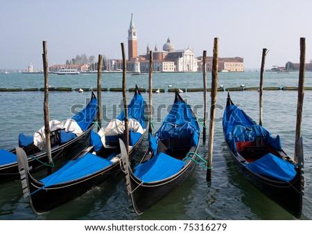 Gondolas in Venice, Italy - stock photo
