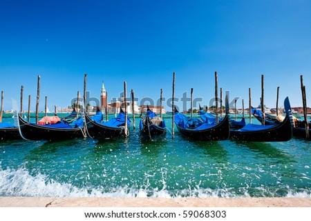 Gondolas in Venice on Grand canal - stock photo