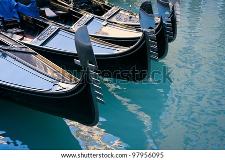 Gondolas moored at Bacino Orseolo - Venice, Venezia, Italy, Europe - stock photo