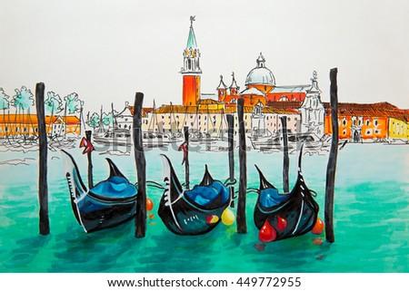 Gondolas moored by Saint Mark square with San Giorgio di Maggiore church in the background in Venice lagoon, Italia. Picture made markers - stock photo