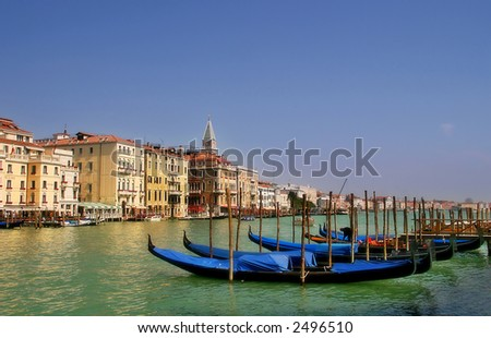 Gondolas on famous Grand Canal in Venice, Italy. - stock photo