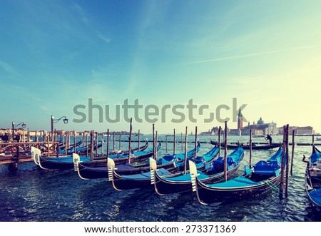 Gondolas on Grand Canal and San Giorgio Maggiore church in Venice