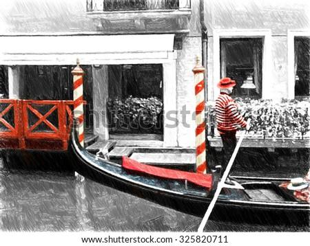 Gondolas on Venice. Digital illustration in draw, sketch style.  - stock photo