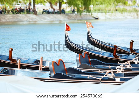Gondolas the river. Istanbul, Turkey. Horizontal photo - stock photo