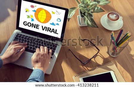 GONE VIRAL man hand on table Business, coffee, Split tone - stock photo