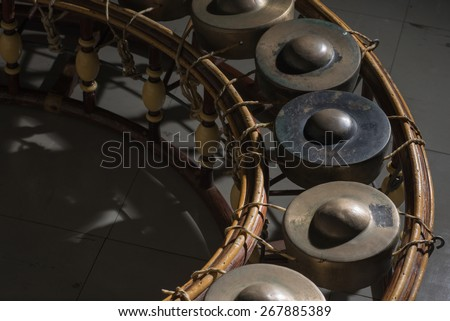 Gong Thai music instrument ,Thai traditional  instrument,low key of Thai music instrument - stock photo