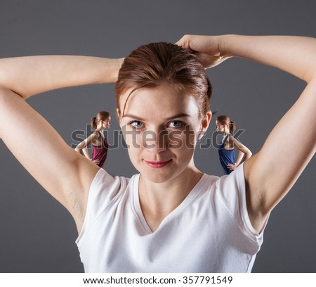Good and Bad Concept with Woman in Studio shot - stock photo