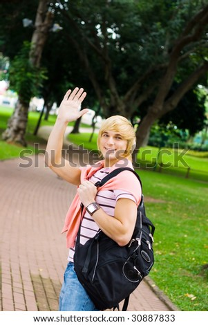 good bye, classmates - stock photo