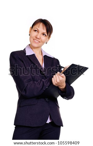 Good Caucasian business woman standing with staff on a white background