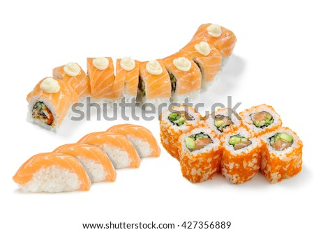 Good combination of rolls in sushi set. Yummy ingredients as salmon, eel, caviar, cucumber and mayonnaise are the best in combination with cold rice. - stock photo