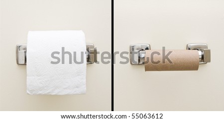Good day, bad day concept of full and empty bathroom tissue roll - stock photo