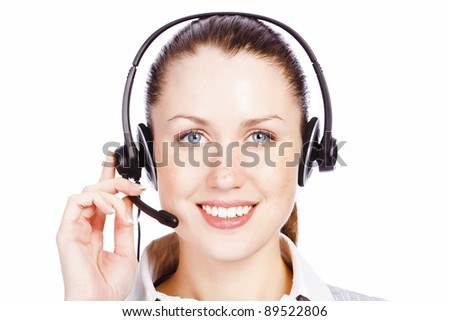 Good day! Cute service operator woman against white background