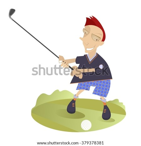 Good day for playing golf. Smiling golfer on the golf course   - stock photo