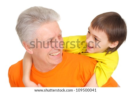 Good family in bright T-shirts  on a white background