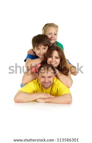 Good family of four in bright T-shirt on a white background