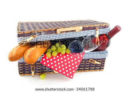 Good filled blue picnic basket for eating outdoor - stock photo