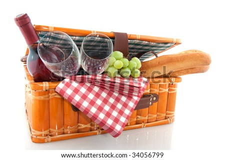 Good filled picnic basket for eating outdoor - stock photo