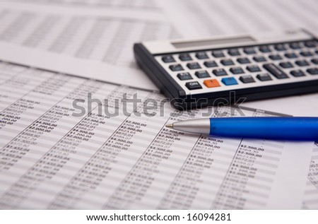 good financial caculate on the financial sheet - stock photo