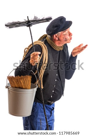 Good fortune kisses offered by a chimney sweep - stock photo