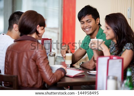 Good friends talking and having a good time - stock photo