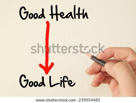 Good health and good life text write on wall  - stock photo
