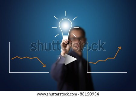 good idea can change downward to upward business writing by business man - stock photo