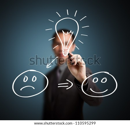 good idea change unhappy to happy concept written by business man - stock photo