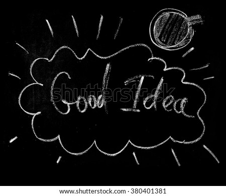 Good Idea Exclamation Business Concept  Hand Chalk Drawing isolated on Black Background Elements for Design Blending Mode - stock photo