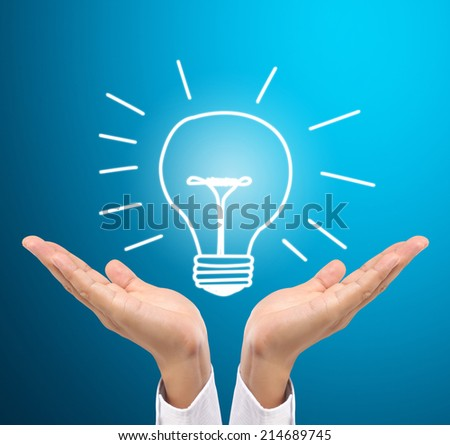 Bulb Light On Women Fingertip On Stock Photo 92821549
