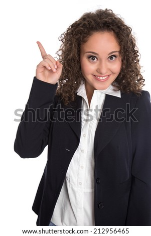 Good idea: isolated young business woman in blue with forefinger. - stock photo