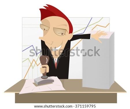 Good job. Cartoon cheerful businessman stamps on documents   - stock photo
