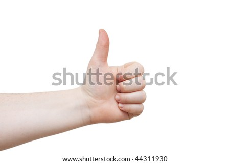 Good job!!  Females hand giving thumbs up on white