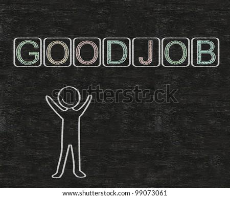 good job written on blackboard with man model symbol, background, high resolution - stock photo