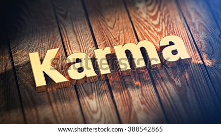 """Good karma is clean karma. The word """"Karma"""" is lined with gold letters on wooden planks. 3D illustration graphics - stock photo"""