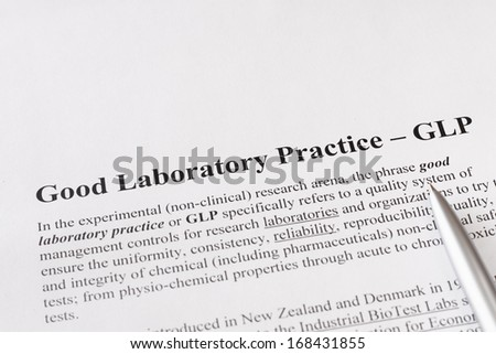 good laboratory practice or GLP  refers to a quality system of management controls for research laboratories - stock photo