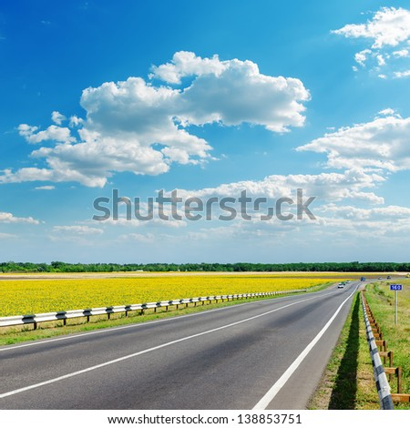 good landscape with asphalt road in yellow field under clouds on sky - stock photo