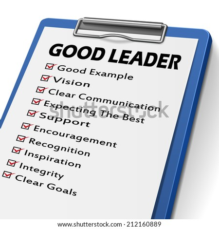 good leader clipboard with check boxes marked for leadership concepts - stock photo