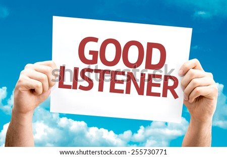 Good Listener card with sky background - stock photo