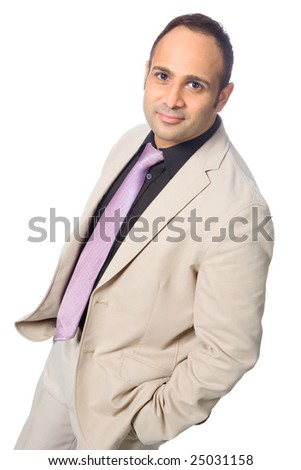 Good looking Asian businessman in smart suit and tie, isolated