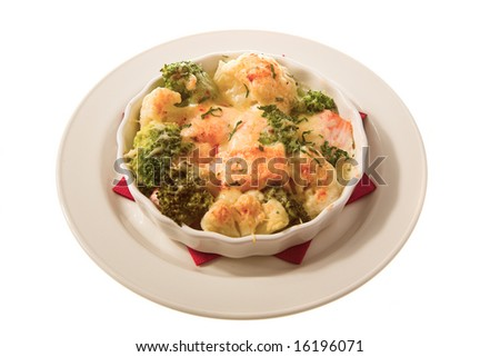 good-looking baked food isolated on the white