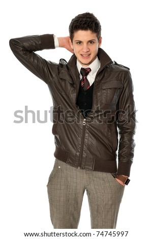 good looking business man standing in the jacket - stock photo