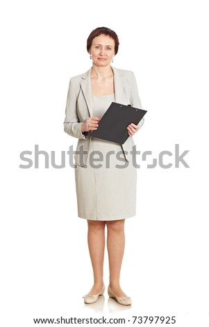 Good looking business woman isolated on white - stock photo