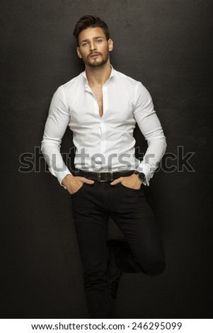 Good-looking fashion model - stock photo