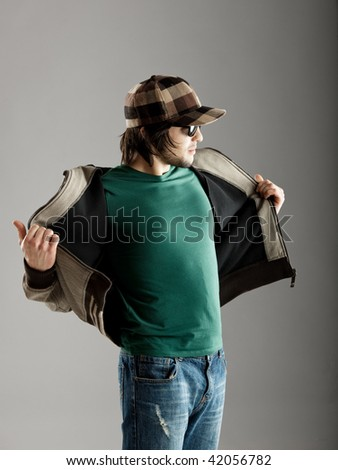 Good looking fashion young with a urban look - stock photo