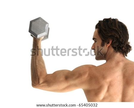 Good looking fitness model doing a bicep curl with dumbbell against white background - stock photo